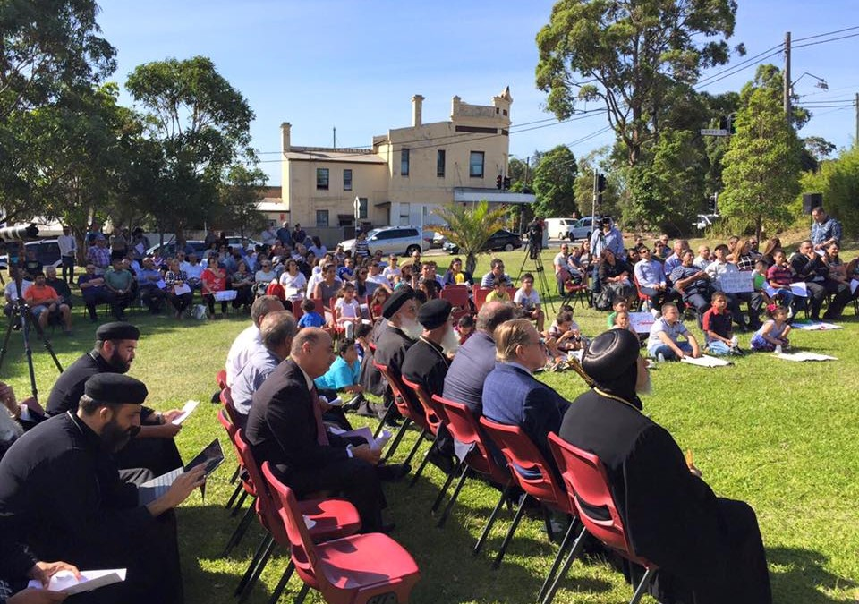 Australia Coptic Heritage & Community Services (ACHCS) holds Vigil outside St Mary and St Mina's Coptic Church building at Sydenham